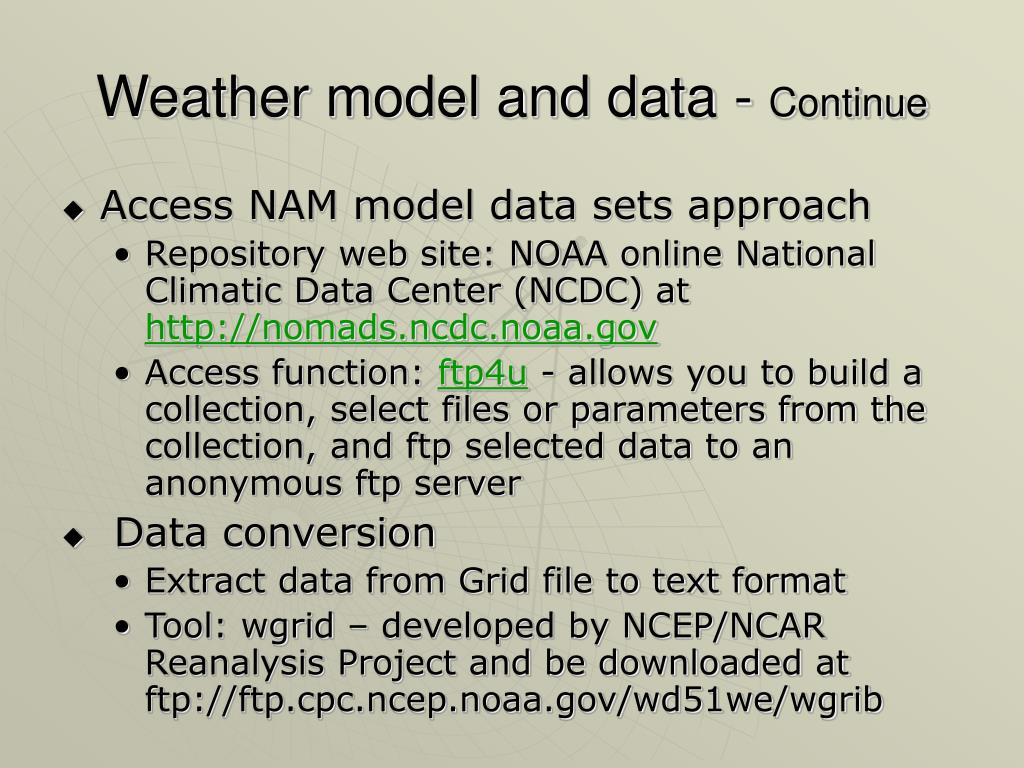 Weather model and data -