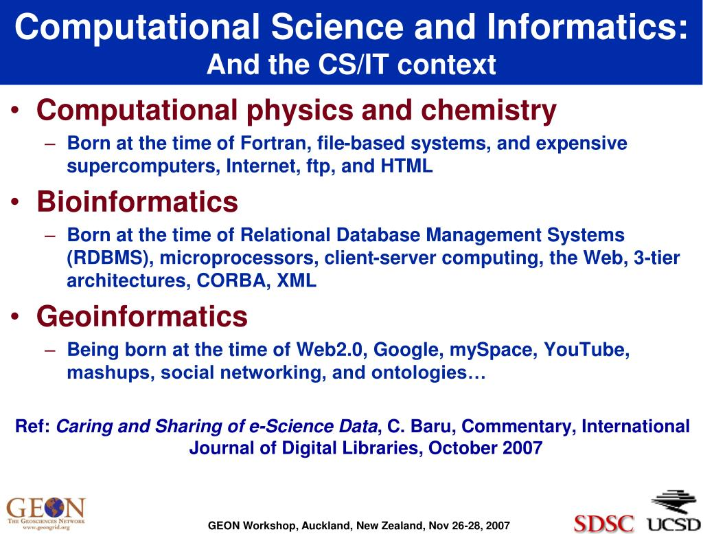 Computational Science and Informatics: