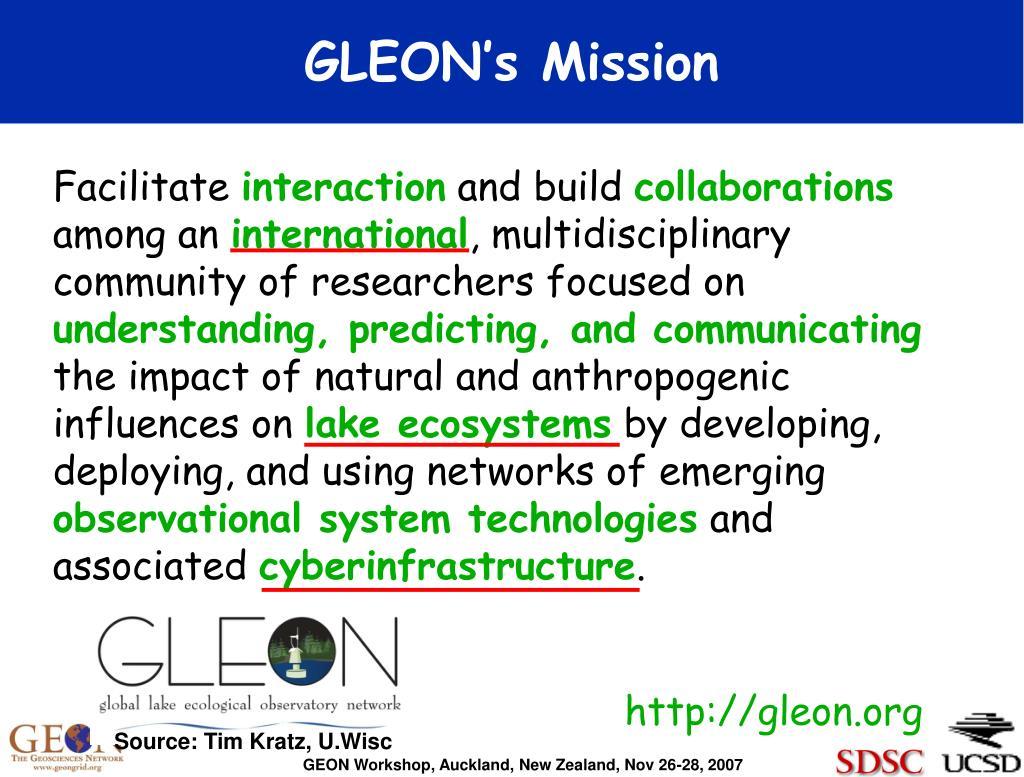 GLEON's Mission