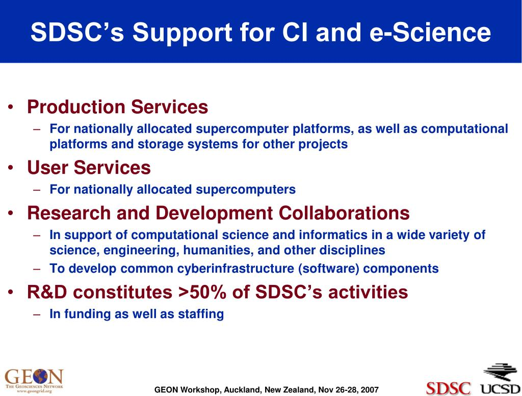 SDSC's Support for CI and e-Science