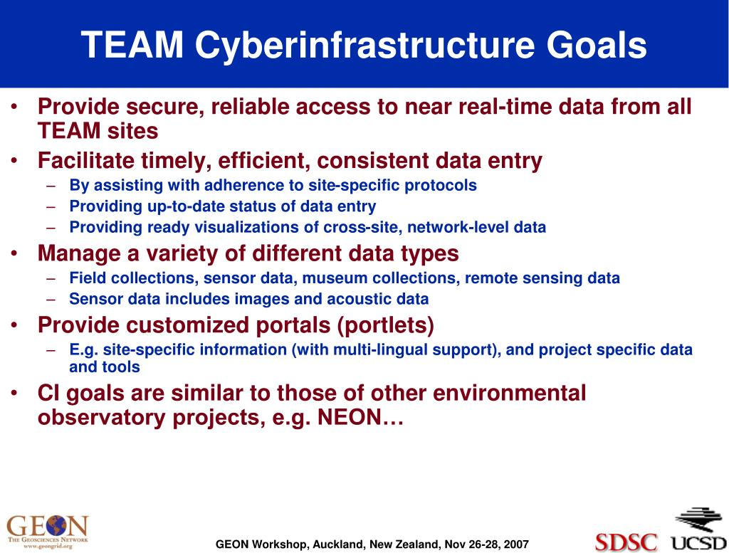 TEAM Cyberinfrastructure Goals