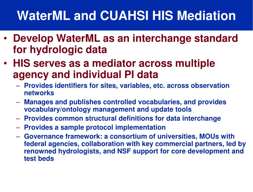 WaterML and CUAHSI HIS Mediation