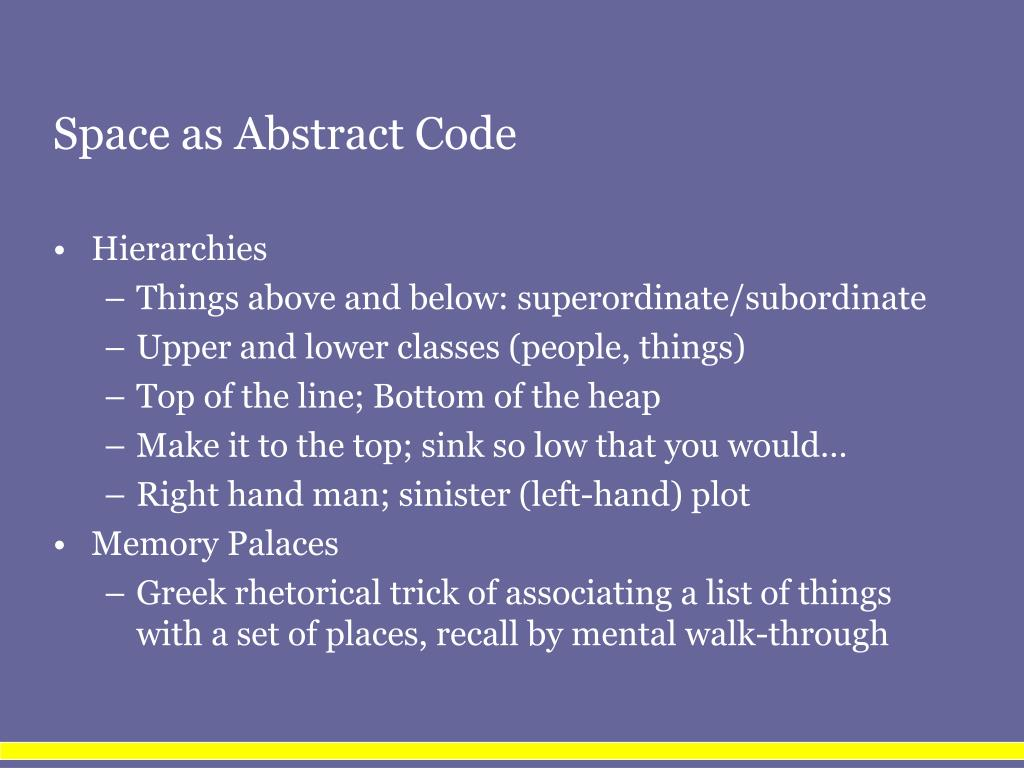 Space as Abstract Code