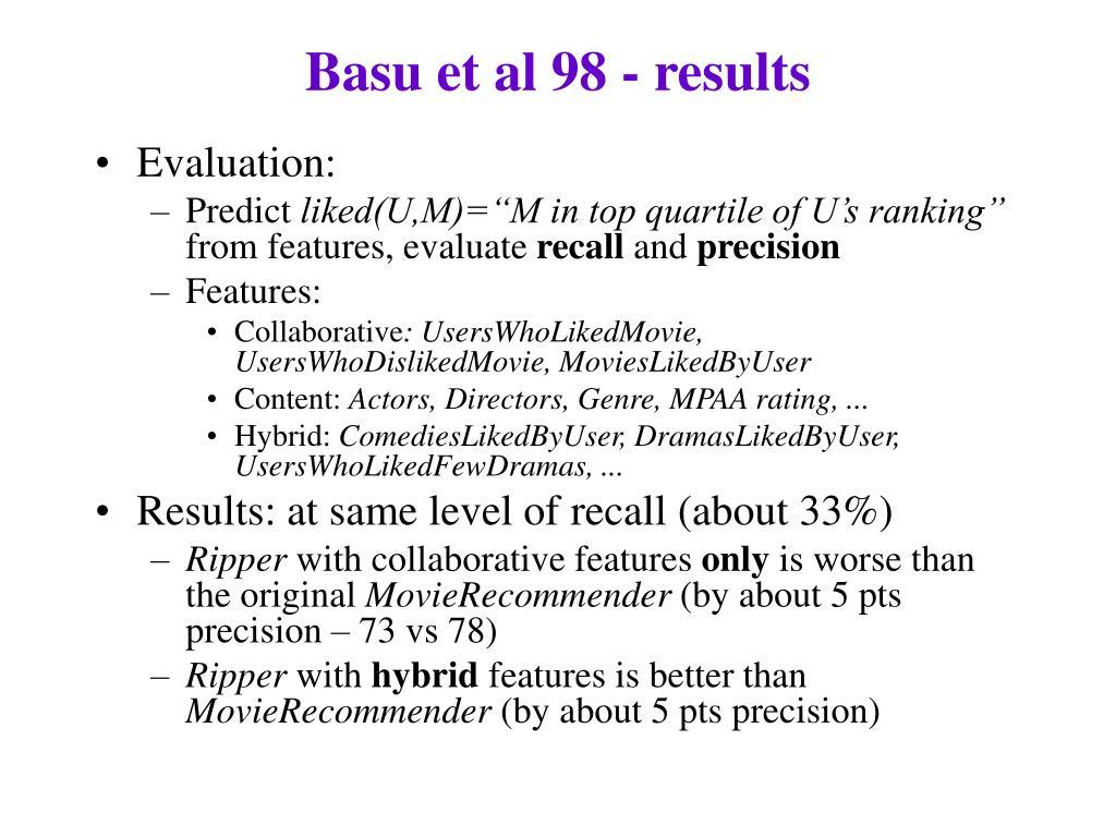 Basu et al 98 - results