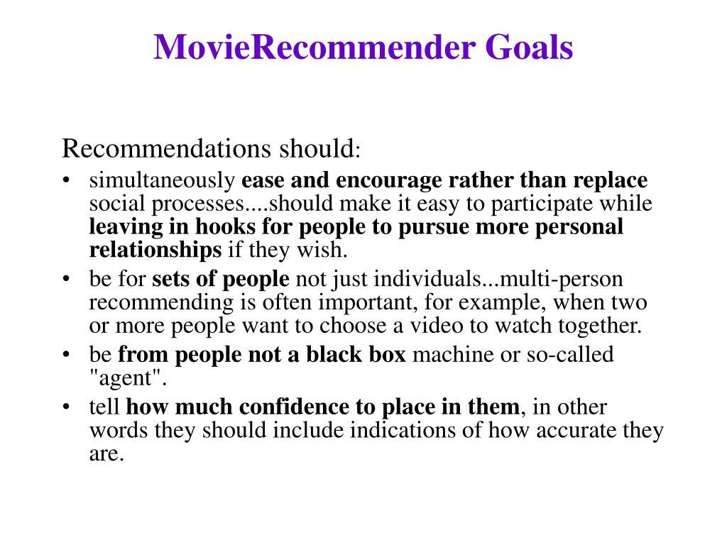 MovieRecommender Goals