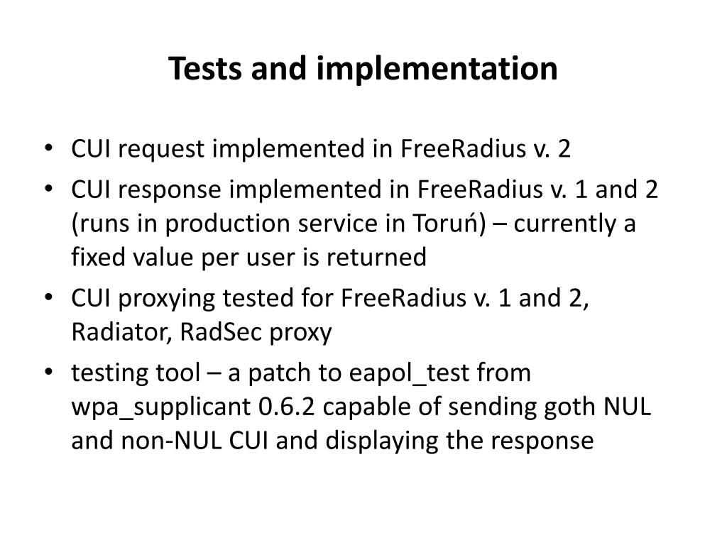 Tests and implementation