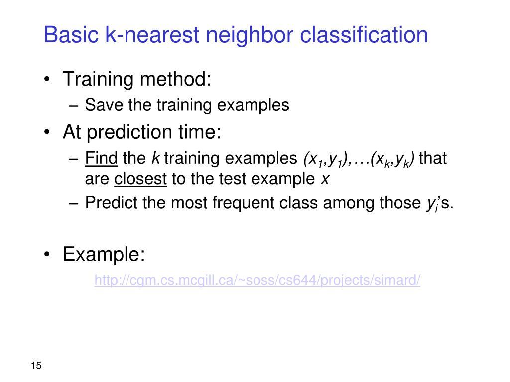 Basic k-nearest neighbor classification