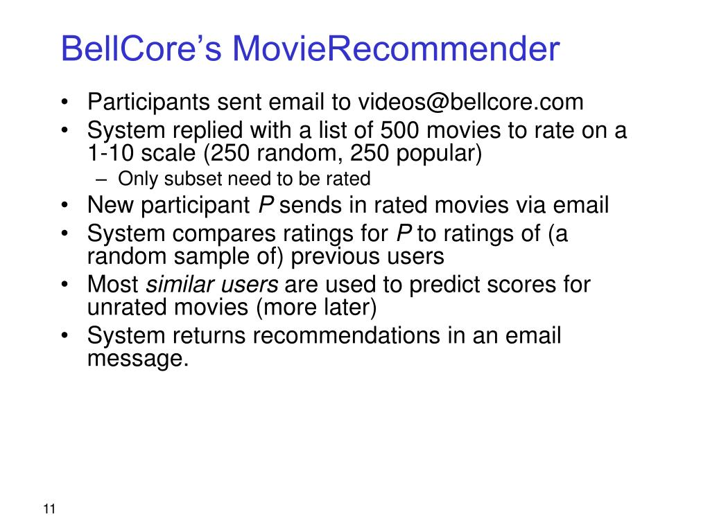 BellCore's MovieRecommender
