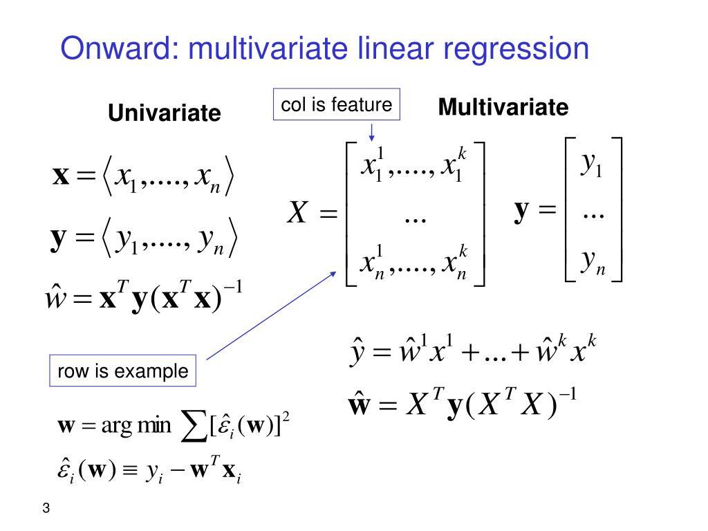 Onward: multivariate linear regression