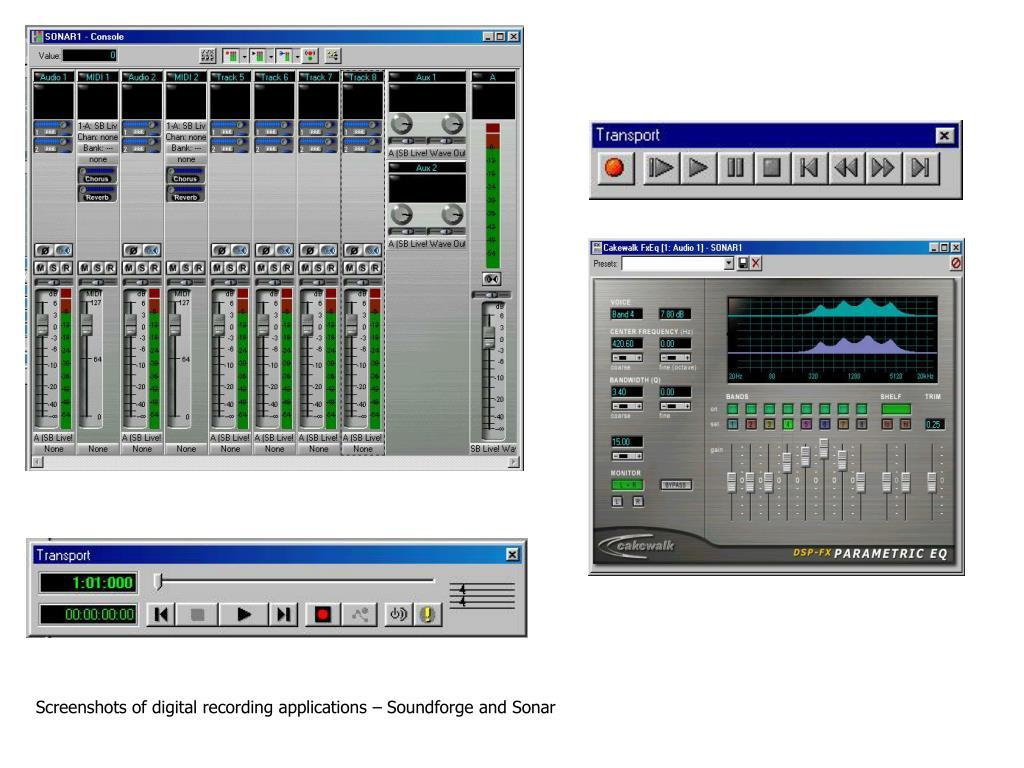 Screenshots of digital recording applications – Soundforge and Sonar