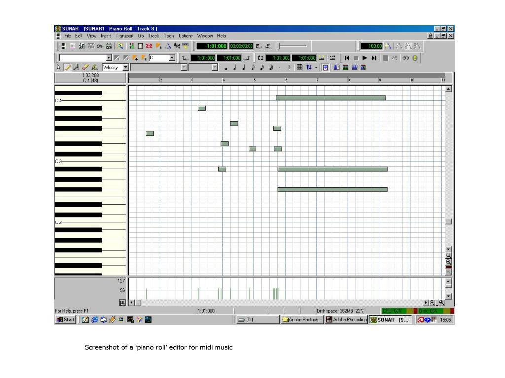 Screenshot of a 'piano roll' editor for midi music