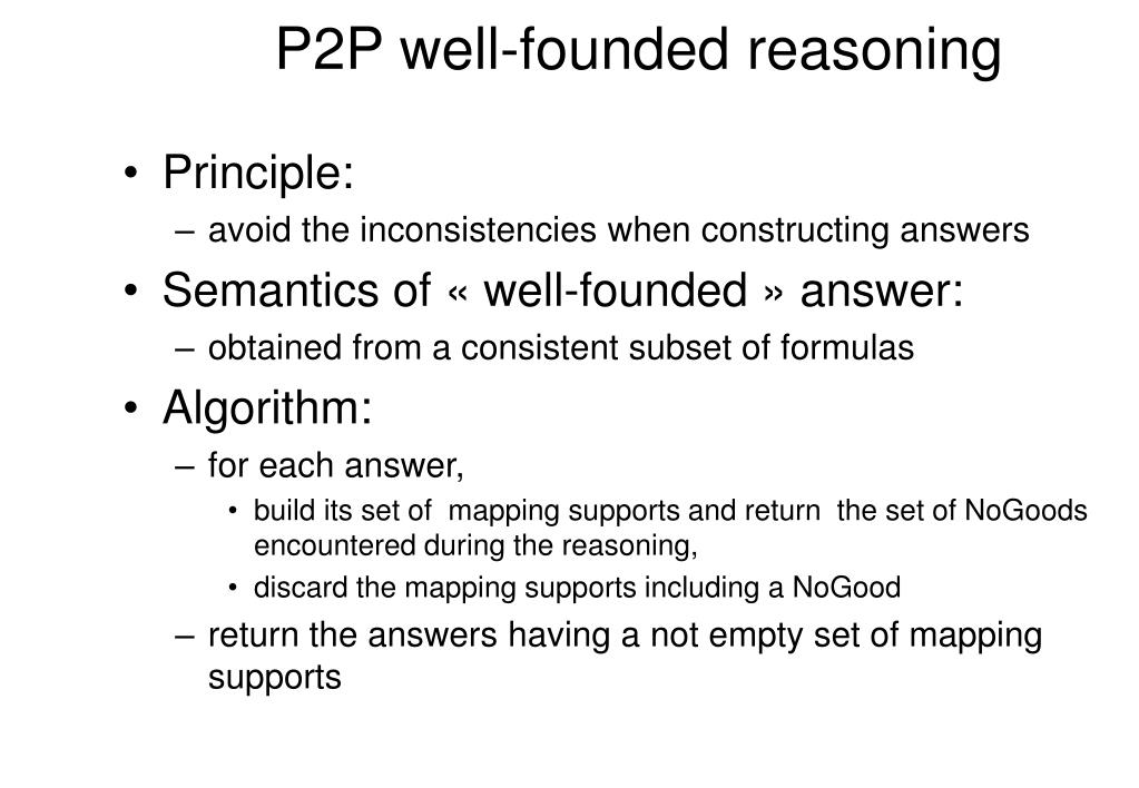 P2P well-founded reasoning