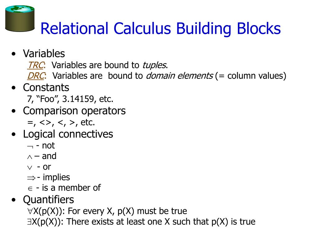 Relational Calculus Building Blocks