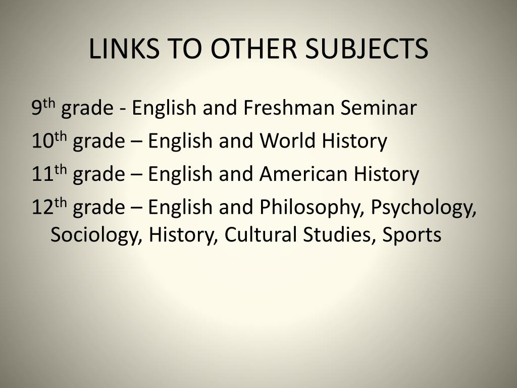 LINKS TO OTHER SUBJECTS