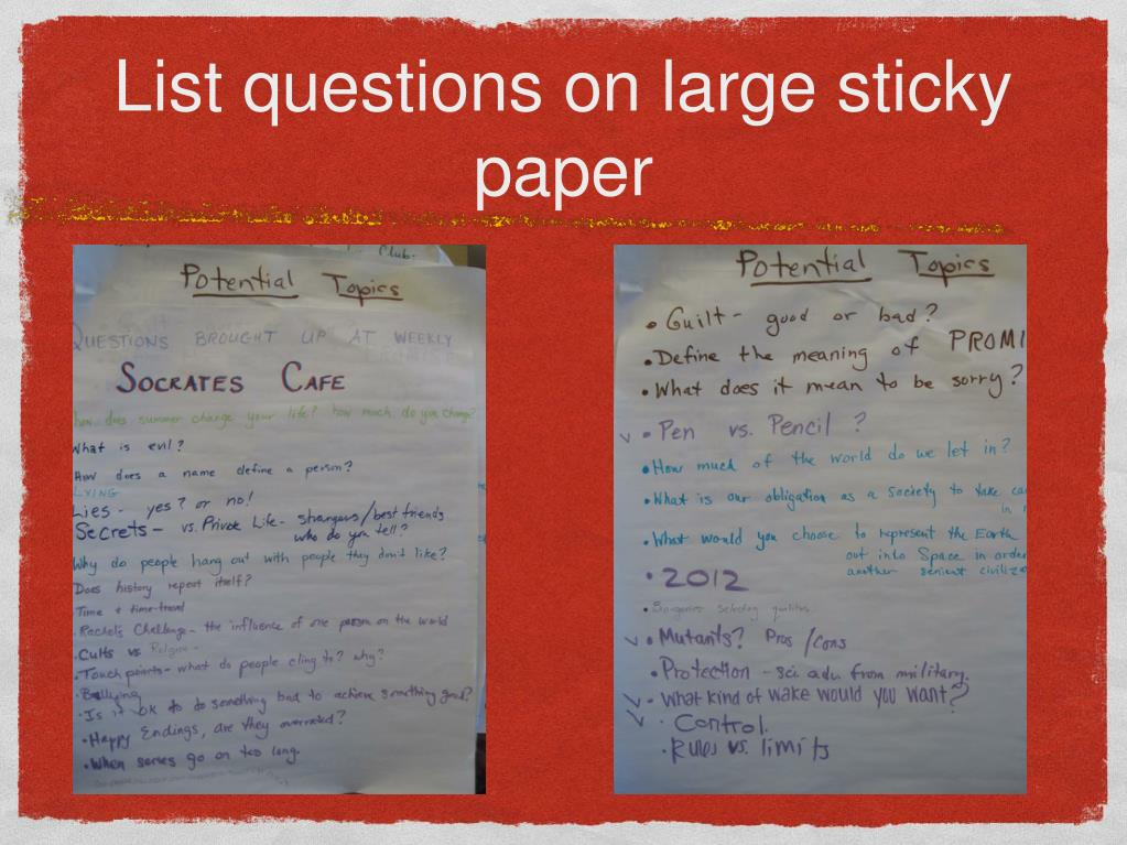 List questions on large sticky paper