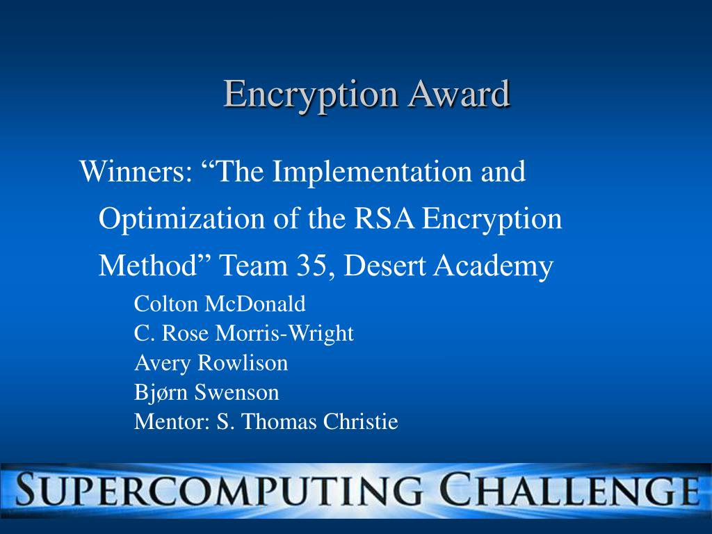 Encryption Award