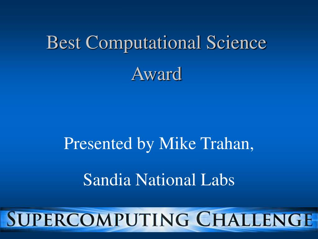 Best Computational Science Award