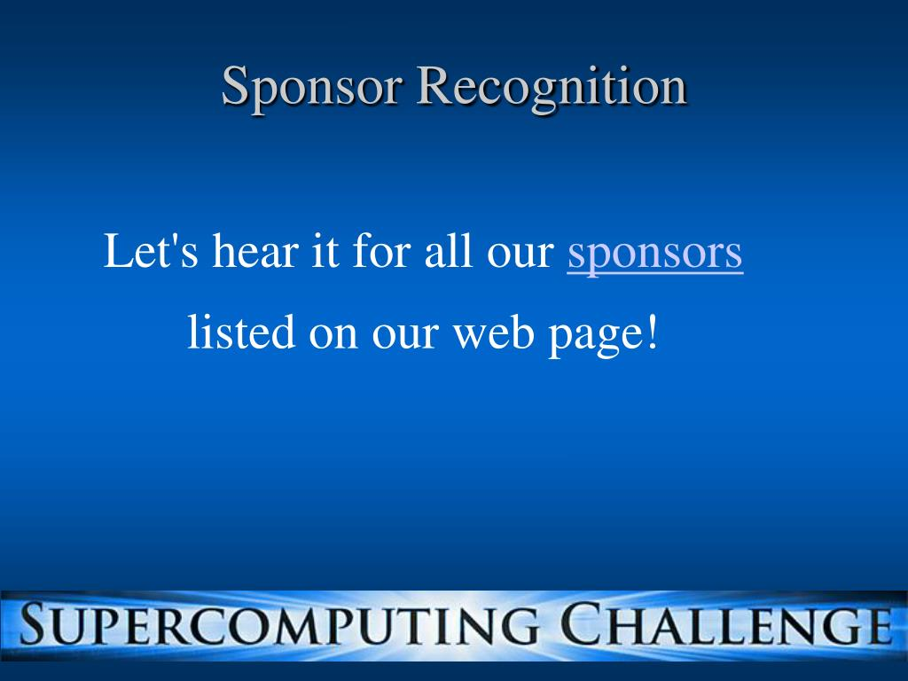 Sponsor Recognition