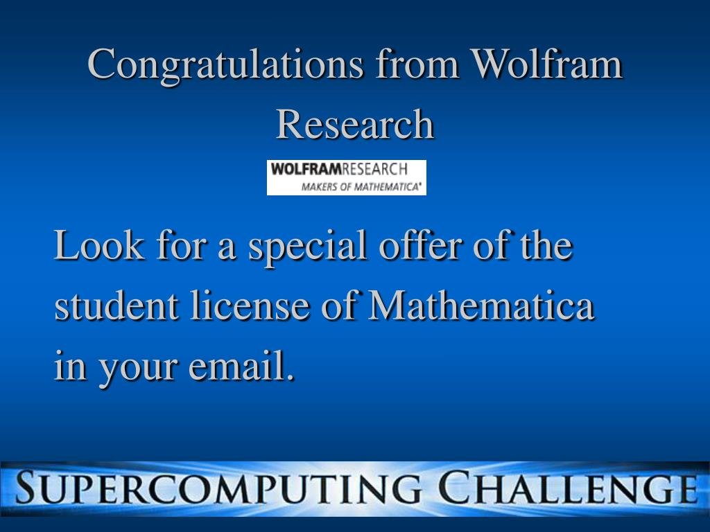 Congratulations from Wolfram