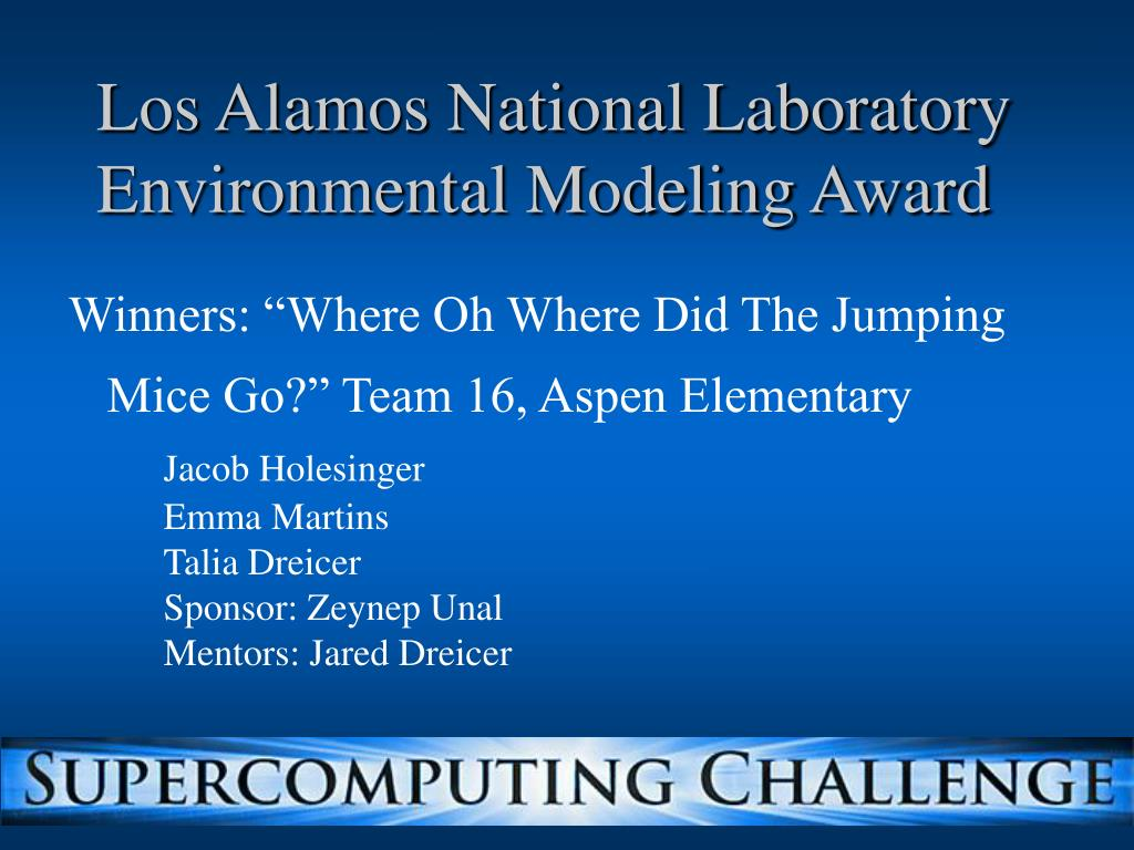 Los Alamos National Laboratory Environmental Modeling Award