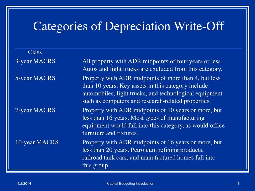 Categories of Depreciation Write-Off