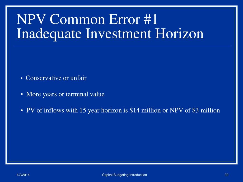 NPV Common Error #1