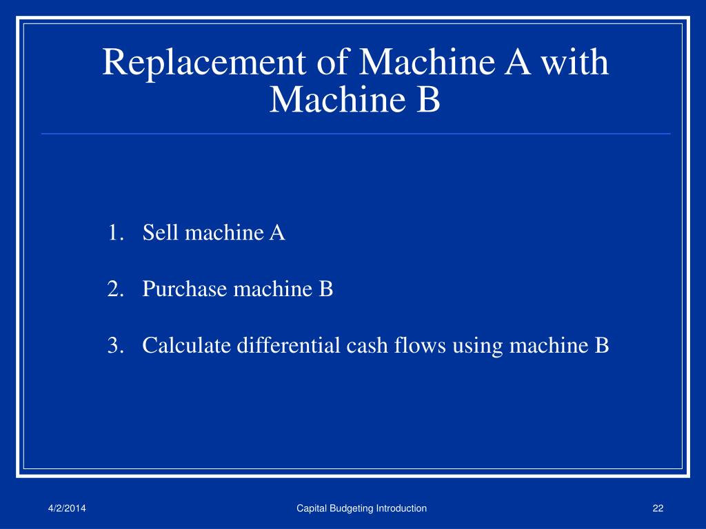 Replacement of Machine A with Machine B