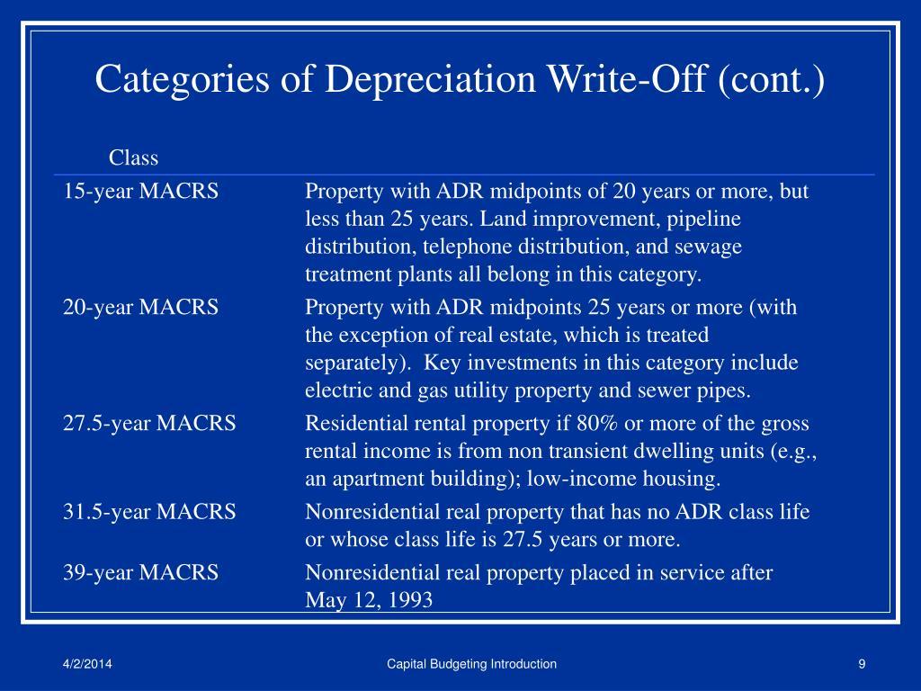 Categories of Depreciation Write-Off (cont.)