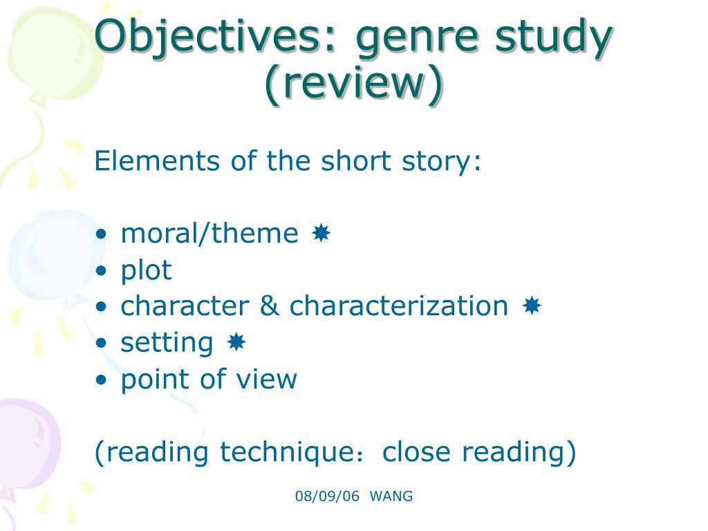 Objectives: genre study (review)