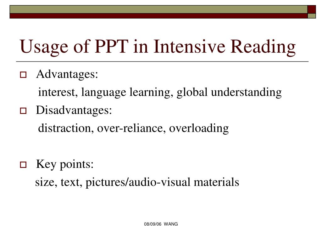 Usage of PPT in Intensive Reading