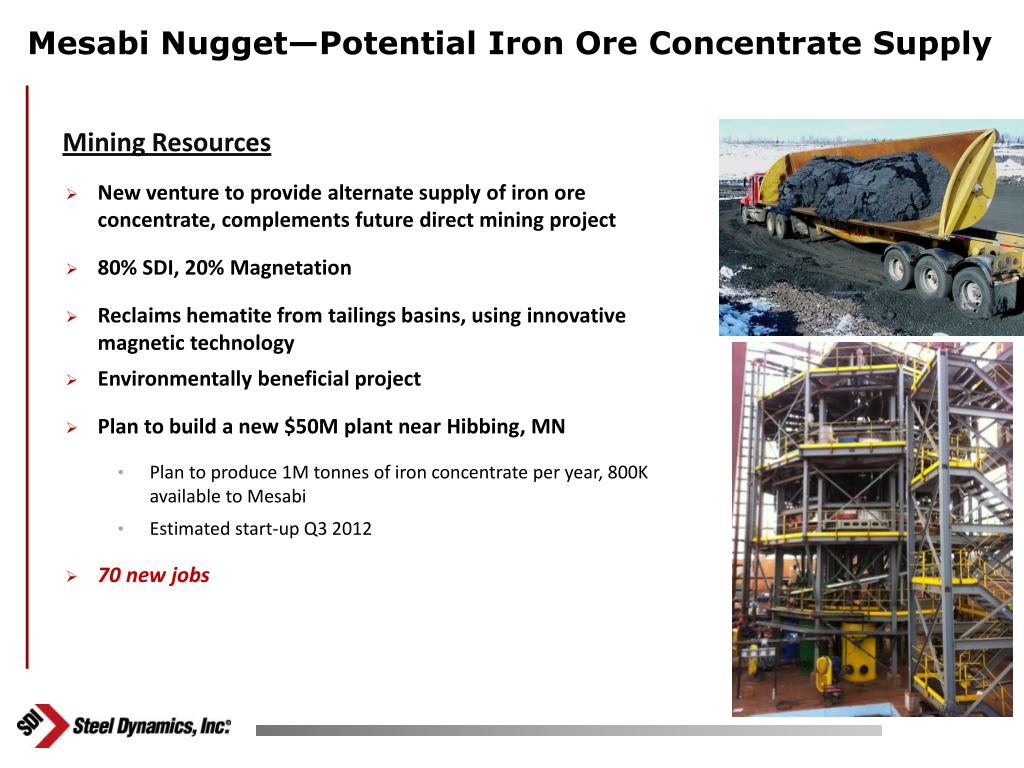 Mesabi Nugget—Potential Iron Ore Concentrate Supply