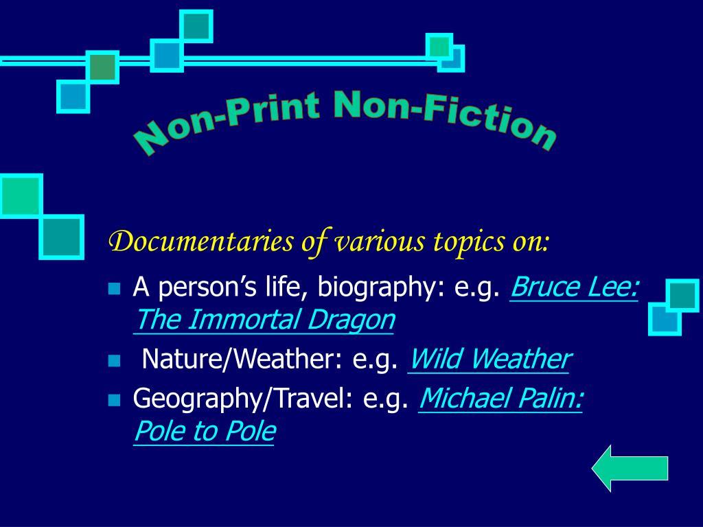 Non-Print Non-Fiction