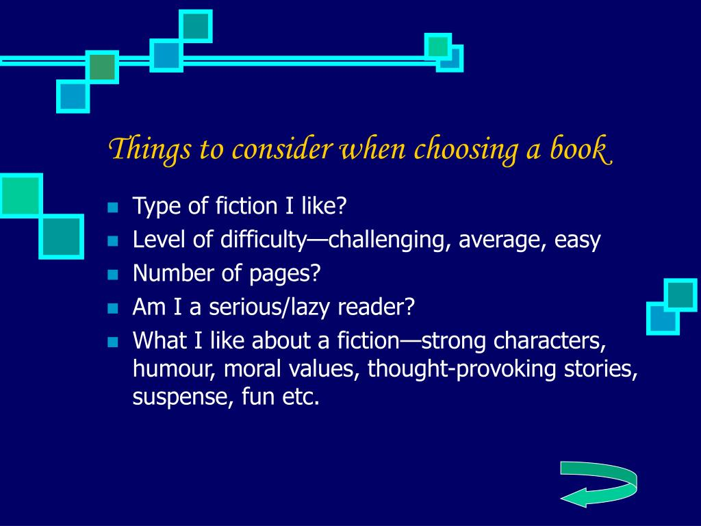 Things to consider when choosing a book