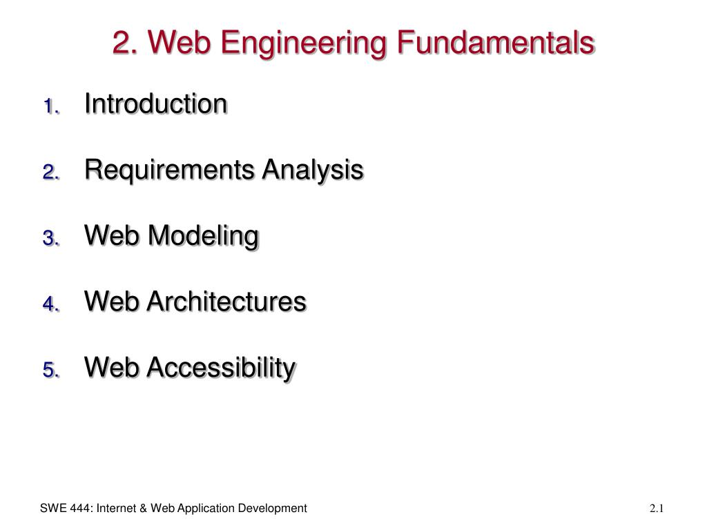 2. Web Engineering Fundamentals