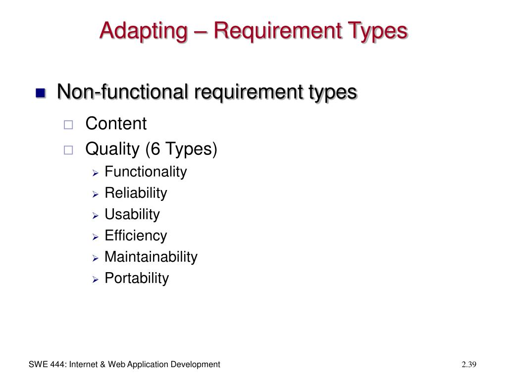 Adapting – Requirement Types
