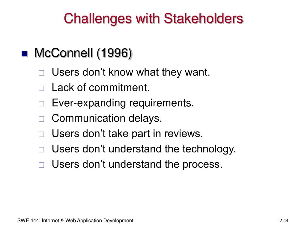Challenges with Stakeholders