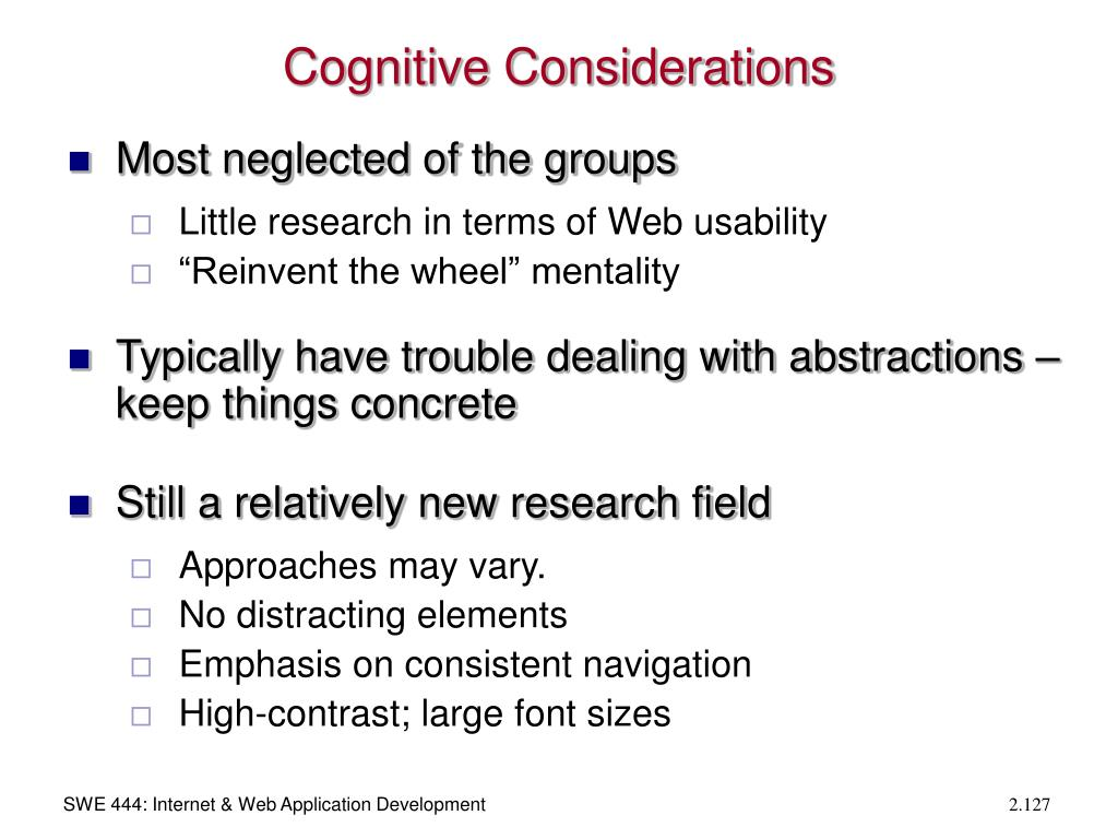 Cognitive Considerations