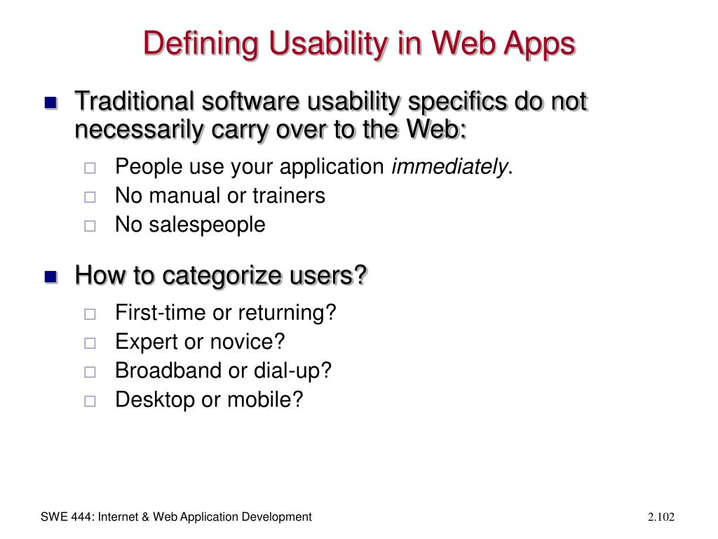 Defining Usability in Web Apps