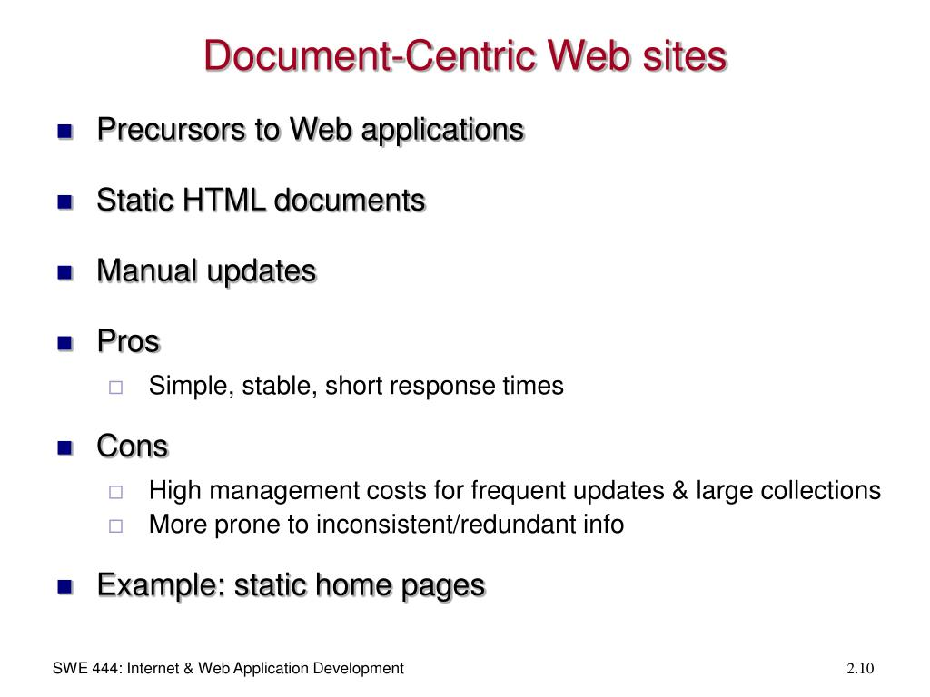 Document-Centric Web sites