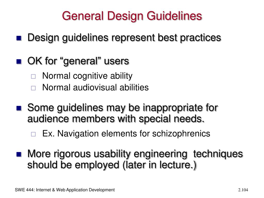 General Design Guidelines