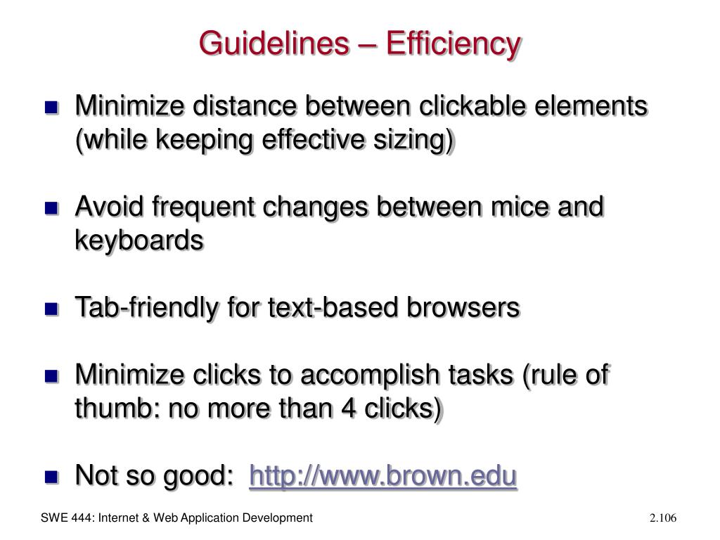 Guidelines – Efficiency
