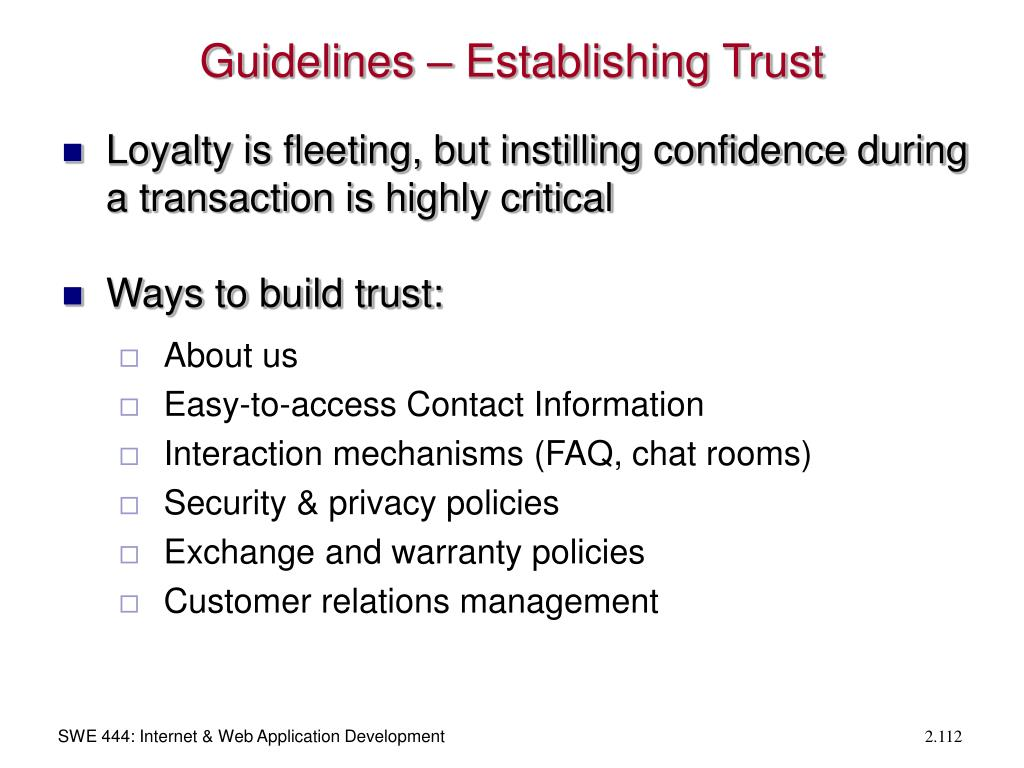 Guidelines – Establishing Trust