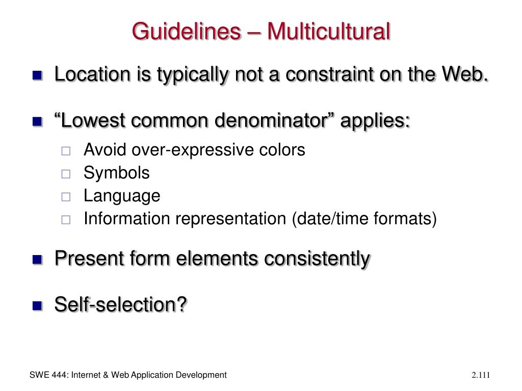 Guidelines – Multicultural