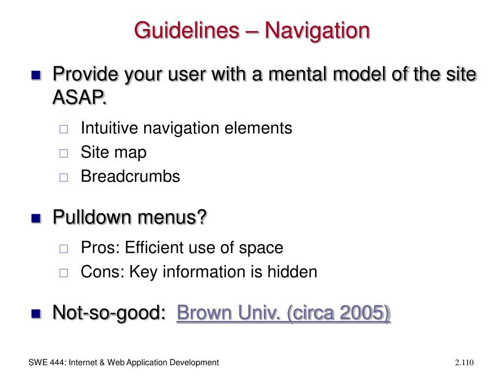 Guidelines – Navigation