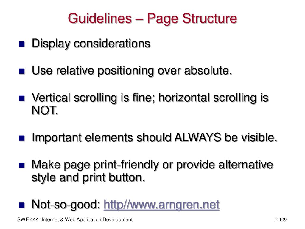 Guidelines – Page Structure