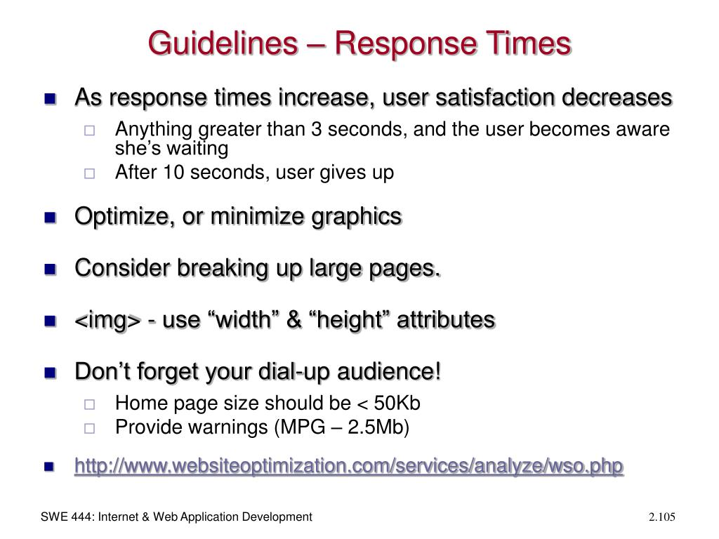 Guidelines – Response Times
