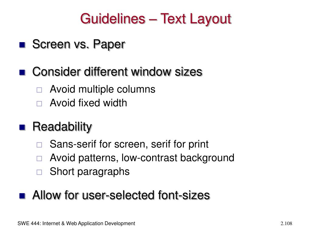 Guidelines – Text Layout