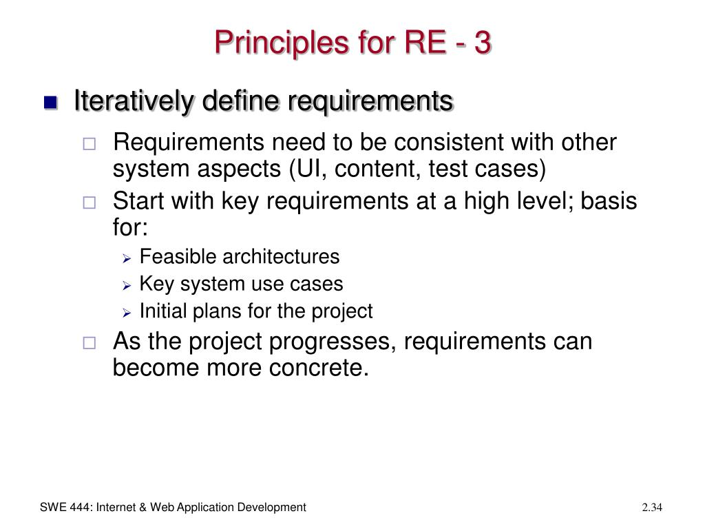 Principles for RE - 3