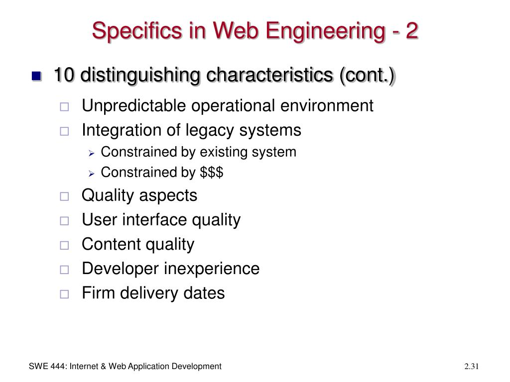 Specifics in Web Engineering - 2