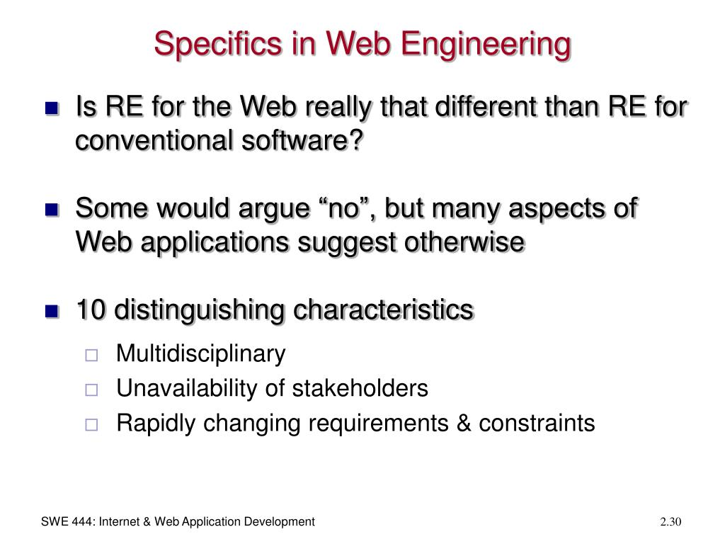 Specifics in Web Engineering